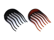 2 Pieces Black and Coffee BUMP IT UP Hair Comb Ponytail Hair Styling Tool Hair Comb Bun Maker