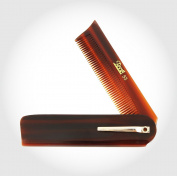 Hair care Brown Folding Pocket Comb with Clip fined toothed seamless comb round tip low pr