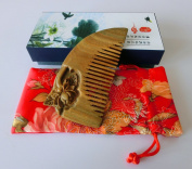 No Static Handmade Carved Natural Green Sandalwood Portable Hair Comb S21