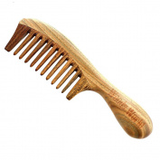 Woods World Wooden Hair Comb-100% Natural Green Sandalwood side hair combs & brushed with wide tooth for Detangling wet hair