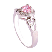 Empsoul 925 Sterling Silver Natural Novelty Filled Pink & White Topaz Heart Shaped Halo Wedding Bridal Ring