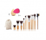 12 pcs Bamboo Handles Makeup Brushes Foundation Blending Blush Concealer Eye Face Powder Cream Cosmetics Brushes Kit and 2 pcs Mini sponge