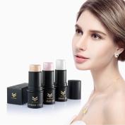 NatureBeauty 3pcs Face Waterproof Shimmer Highlighter Stick Bronzers Highlighter Powder Creamy Texture Silver Gold Light Face Makeup