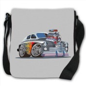1960s Hotrod Modified Car With Custom Engine Small Black Canvas Shoulder Bag / Handbag