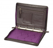Real Leather Conference Ring Binder File Folio Documents A4 Organiser Tablet Sleeve Underarm Bag HLG809 Brown