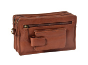Mens Wrist Leather Bag Multi Zip Clutch Grab Mobile Money Travel Purse HLG448 Brown