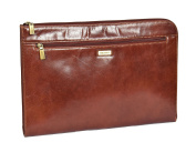 Genuine Leather Conference File Folder Folio Documents A4 Organiser Tablet Sleeve Underarm Bag HLG786 Brown