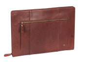 Leather Conference Folder Folio Documents A4 Organiser Tablet Sleeve Underarm Bag HLG102 Brown