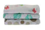 Slumbersac Baby Cotton Muslin Squares Girls 30x30cm 3pack