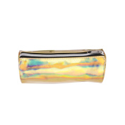 Meliya Holographic Zipper Pencil Case Hologram Travel Stationery Pouch Laser Makeup Pouch, Gold