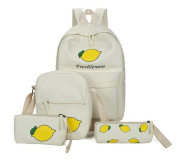 Girls Lovely Fruit Pattern Backpack Canvas School Bag Casual Lightweight Rucksack + Shoulder Bag + Purse + Pencil Case (Beige
