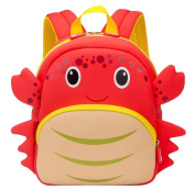 La Vogue Toddler Crab Preschool Kindergarten Backpack 3D Cartoon School Bag Red