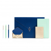 Poppin Present Yourself Interview Portfolio Collection, Navy and Gold