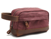 Waterproof Canvas Leather Travel Toiletry Bag Organiser for Men