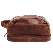 Scotch & Vain large wash bag - Travel Overnight Wash Gym Shaving Bag For Men's Or Ladies ALEX - toiletry bag brown-cognac leather