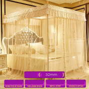 Double Household Stainless Steel Bracket Mosquito Net ( Colour : 32mm-Beige , Size : 1.8M