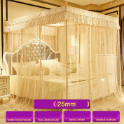 Double Household Stainless Steel Bracket Mosquito Net ( Colour : 25mm-Beige , Size : 1.5M