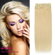 SUNMAY Remy Clip in Human Hair Extensions - Full Head of 18
