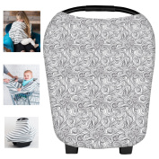 Multi-Use Organic Cotton Lycra Nursing Breastfeeding Cover Baby Car Set Cover Canopy Shopping Cart Cover Swaddle Blanket for Infants Newborns Toddlers Shower Gift