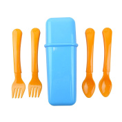 Bid Buy Direct® 5Pc Baby Travel Cutlery Case - 2 Forks, 2 Spoons in a Handy Travel Carry Case | Baby Self-Feeding Training Cutlery with Non Slip and Easy Grip | 100% Safe - BPA Free