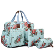 Miss Lulu Baby Nappy Nappy Changing Bag Set Large Blue Shoulder Handbag Oilcloth / PU Leather Tote Mothers Day Gifts