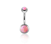 GJ Body Piercing Jewellery Belly Ring Stainless Steel Synthetic Opal Gemstone Belly Button Ring with GIFT BOX