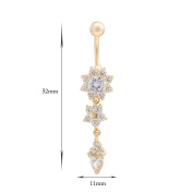 GJ Zircon Stainless Steel Navel Belly Button Ring Flower Dangle Belly Ring Body Piercing Jewellery with Gift Box