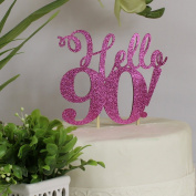 All About Details Pink Hello 90! Cake Topper