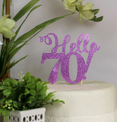 All About Details Purple Hello 70! Cake Topper