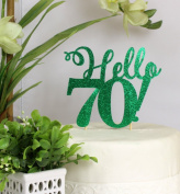 All About Details Green Hello 70! Cake Topper
