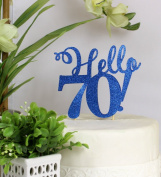 All About Details Blue Hello 70! Cake Topper