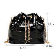 AiSi Ladies Shouder Bag Patent Leather Chain Strap Fashion Handbag for Womens-Black