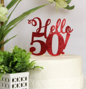 All About Details Red Hello 50! Cake Topper
