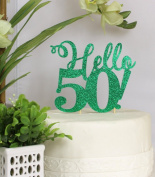 All About Details Green Hello 50! Cake Topper