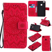 P8 Lite 2017 Leather case, Dfly Premium PU Leather Embossed Mandala Design, with Invisible Strong Magnetic Slim Flip Cover Protective Wallet Case for Huawei P8 Lite 2017, Red