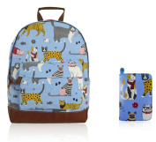 SALE SALE - New Childrens Designer Style Canvas MIXED CAT Print Backpack Bag With Matching Purse- JC Kids 'Back to School' Collection