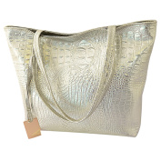 Azbro Women's PU Alligator Pattern Square Tote Bag, Silver One Size