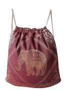 Gymnastic bag, sports bag, cotton backpack, woven with elephant pattern