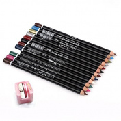 Sipaike 12pcs/set Waterproof Lip Liner Pencil Set Professional Lip Makeup Kit with Pencil Sharpener