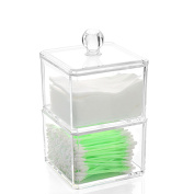 Bhbuy Multi-Function Clear Acrylic Cotton Ball Swab Storage Case Organiser For Make Up Pads Cosmetics