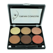 Celavi Contour and Highlight 6 Colour Palette w/ Dual Headed Sponge and Built in Mirror Easy To Use Kit
