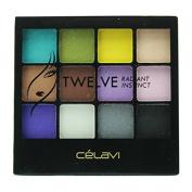 Celavi Twelve Eye Shadow Palette w/ Built in Mirror and Dual Headed Sponge Applicator