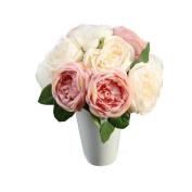 Creazy DIY pink Beautiful Artificial Rose Silk Flowers 5 Flower Head Leaf Garden Decor