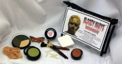Mummified Zombie Makeup Kit By Bloody Mary - Complete Halloween Special Effects Make Up Supplies Set - Foundation Wheel, Eyeshadow, Bandages, Brushes, Sponge, Rotted Teeth & Maggots - Zippered Case