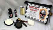 Scary Skeleton Makeup Kit By Bloody Mary - Halloween Costume Professional Special Effects Face Makeup Supplies - FX Foundation, Black Blood Lipstick, Eye Shadow, Crayons, Brushes, Blood, Sponge & Case