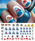 Great White Shark Set #2 - WaterSlide Nail Art Decals - Salon Quality! Celebrate Shark Week!