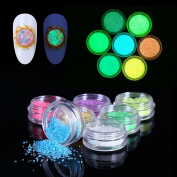 Fluorescent Neon Luminous Power Sand Manicure Print Tool DIY 7 Colours Gel Nail Decoration for Glow in Dark by Elite99