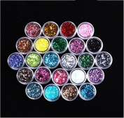 XICHEN 24 Pcs/Colours Glitter Powder Dust Nail Art Tip Decoration