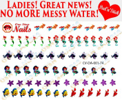 Disney Ariel Nail Decals. Clear Vinyl PEEL and STICK (NOT Waterslide) nail decals/stickers set of 74 CV-DA-001-74