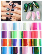 XICHEN 16 Pcs/Colours Nail Art Stickers Acrylic Broken glass aurora stickers DIY Decoration 4CM100CM